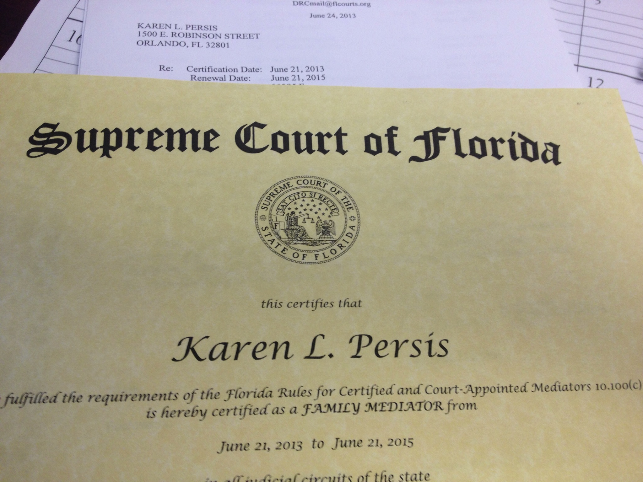 Karen Persis is now a Florida Supreme Court Certified ...