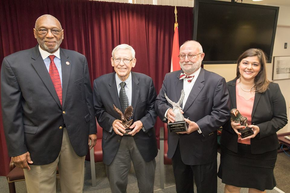 Former Florida Supreme Court Justice James E.C. Perry, along with professionalism award winners Charles T. Wells, Judge Arthur Briskman, and Karen Persis